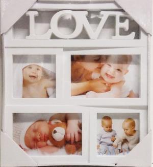 Fotorám na 4 fotky LOVE, biely