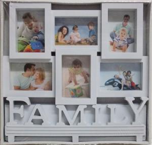 Fotorám na 6 fotiek Family, biely