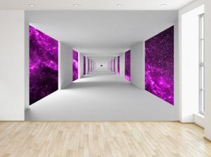 Fototapeta Chodba a fialový vesmír 200x135cm FT4742A_1AL