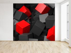 Fototapeta Čierno - červené kocky 3D 150x200cm FT3704A_2M
