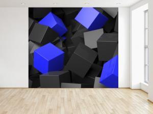 Fototapeta Čierno - modré kocky 3D 150x200cm FT3705A_2M