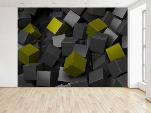 Fototapeta Čierno - zelené kocky 3D 200x135cm FT3706A_1AL