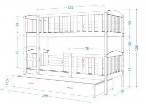 GL Poschodová posteľ Jakub 5 Rozmer: 200x90
