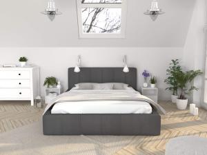 GM Čalúnená manželská posteľ Fiona - grafit Rozmer lôžka: 180x200