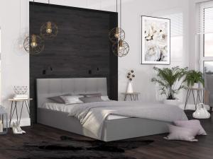 GM Čalúnená manželská posteľ Ingrit - sivá Rozmer lôžka: 140x200