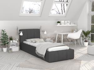 GM Detská čalúnená posteľ Fiona 90x200 - grafit