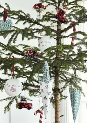 GREEN GATE Vianočná textilná dekorácia Juno Green - set 2ks