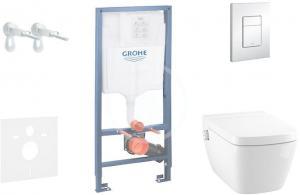 GROHE - Rapid SL Súprava predstenovej inštalácie, sprchovacej toalety a sedadla Tece, tlačidla Skate Cosmo, Rimless, SoftClose, chróm (38528SET-KT)