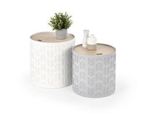 HALMAR Alba okrúhly konferenčný stolík (2 ks) biela / sivá / prírodná