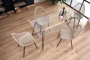 HALMAR Allegro sklenený jedálenský stôl priehľadná / čierna / prírodná