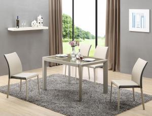 HALMAR Arabis sklenený rozkladací jedálenský stôl svetlohnedá / béžová