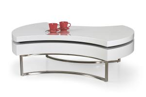 HALMAR Aurea konferenčný stolík biely lesk / chróm
