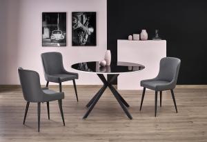 HALMAR Avelar okrúhly sklenený jedálenský stôl čierna / biela