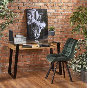 HALMAR B-36 písací stôl so sklom priehľadná / dub medový / čierna