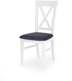 HALMAR Bergamo jedálenská stolička biela / tmavomodrá