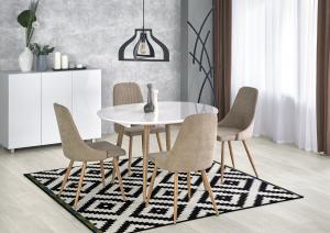 HALMAR Edward rozkladací jedálenský stôl biely lesk / dub san remo