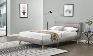 HALMAR Elanda 140 čalúnená manželská posteľ s roštom svetlosivá