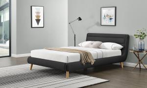 HALMAR Elanda 160 čalúnená manželská posteľ s roštom tmavosivá