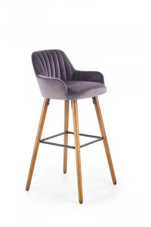 HALMAR H-93 barová stolička tmavosivá / orech