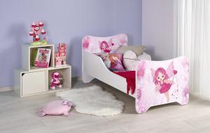 HALMAR Happy Fairy detská posteľ s roštom a matracom biela / kombinácia farieb