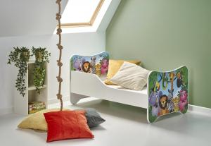 HALMAR Happy Jungle detská posteľ s roštom a matracom biela / kombinácia farieb