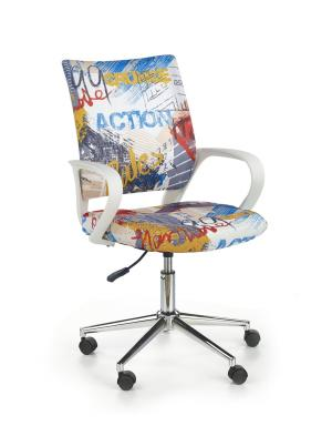 HALMAR Ibis detská stolička na kolieskach s podrúčkami biela / vzor freestyle