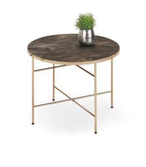 HALMAR Isabelle okrúhly konferenčný stolík so sklom čierny mramor / champagne