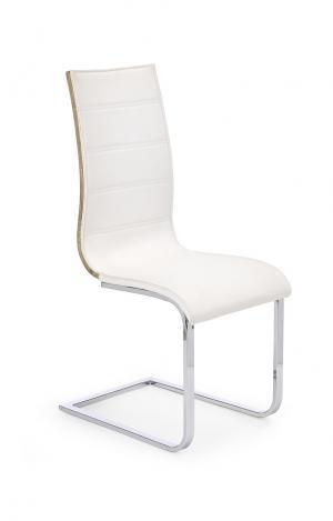 HALMAR K104 jedálenská stolička biela / dub sonoma lesk