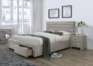 HALMAR Kayleon 160 čalúnená manželská posteľ s roštom béžová