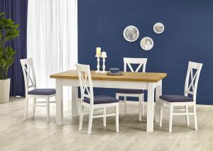 HALMAR Leonardo rustikálny rozkladací jedálenský stôl biela / dub medový
