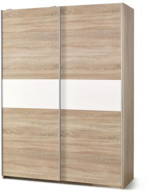HALMAR Lima S1 šatníková skriňa s posuvnými dverami dub sonoma / biely lesk