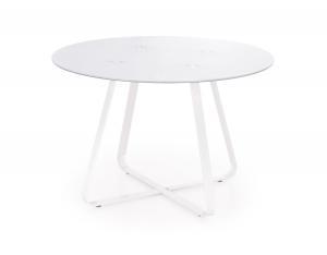 HALMAR Looper okrúhly sklenený jedálenský stôl biela