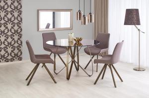 HALMAR Lungo okrúhly sklenený jedálenský stôl hnedá / zlatá