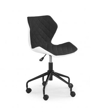 HALMAR Matrix detská stolička na kolieskach čierna / biela