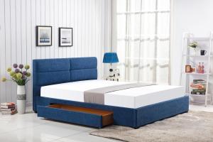 HALMAR Merida 160 čalúnená manželská posteľ s roštom modrá