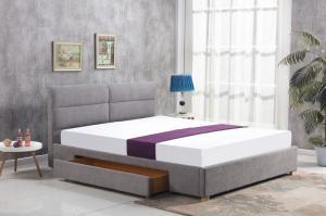 HALMAR Merida 160 čalúnená manželská posteľ s roštom svetlosivá