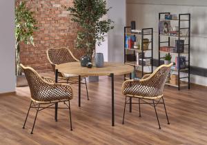 HALMAR Morgan okrúhly jedálenský stôl dub zlatý / čierna