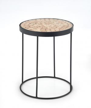 HALMAR Naturo 2 okrúhly konferenčný stolík čierna
