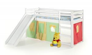 HALMAR Neo Plus 80 drevená poschodová posteľ s roštom a matracom biela