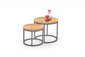 HALMAR Oreo okrúhly konferenčný stolík (2 ks) dub zlatý / čierna