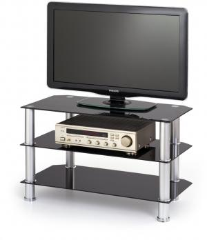 HALMAR RTV-21 sklenený tv stolík čierna