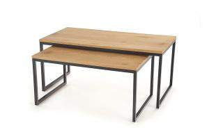 HALMAR Sabrosa konferenčný stolík (2 ks) dub zlatý / čierna