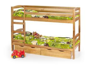 HALMAR Sam 80 drevená poschodová posteľ s roštami a matracmi jelša
