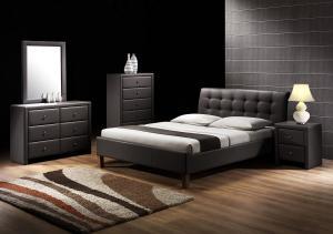 HALMAR Samara 160 čalúnená manželská posteľ s roštom čierna