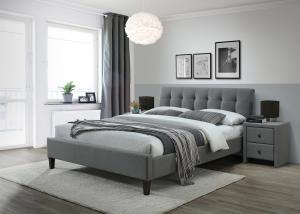 HALMAR Samara 2 160 čalúnená manželská posteľ s roštom sivá / orech