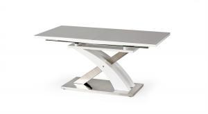 HALMAR Sandor 2 rozkladací jedálenský stôl sivý lesk / biely lesk / nerezová