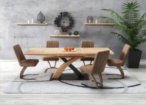 HALMAR Sandor 3 rozkladací jedálenský stôl dub zlatý / čierna