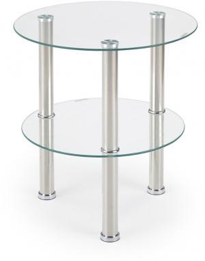 HALMAR Sardinia okrúhly sklenený konferenčný stolík priehľadná
