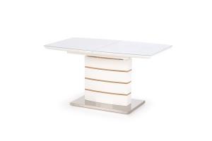HALMAR Toronto sklenený rozkladací jedálenský stôl biely lesk / dub zlatý