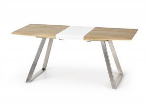HALMAR Trevor rozkladací jedálenský stôl dub sonoma / biely lesk / nerezová